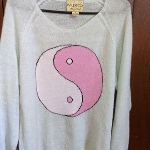 Wildfox Yin Yang Turquoise Sweater White Label